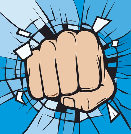 deflated: fist breaking through glass human hand breaking glass Illustration