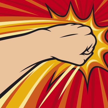 militant: fist punching human hand punching Illustration