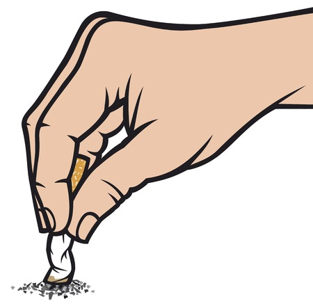 hand holding: hand extinguishing a cigarette hand extinguish a cigarette Illustration