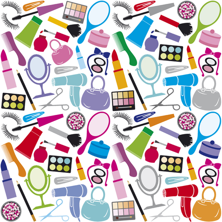 merchandise: make up collection background make up collection seamless pattern, beauty and makeup set, cosmetics set, cosmetic products background design