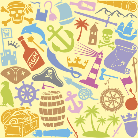 mystery: pirates icons seamless pattern  pirates icons background, pirate sabre, pirate skull with bandanna and bones, pirate hook, triangle hat, old ship, treasure chest, anchor, rudder, map, rum, island Illustration