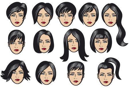 schwarze frau nackt: Große Reihe von schwarzen Haar-Styling für die Frau, die große Reihe von Vektor-Haar-Styling, Frisur Proben für Frauen, Frisuren der Frauen, Frisuren, Frauenhaar Vektor Illustration