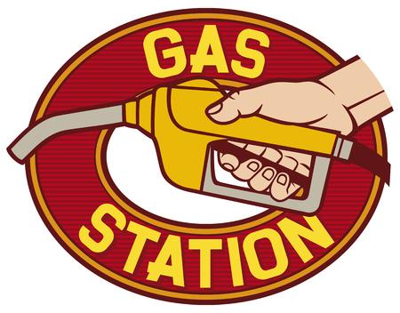 fuel pump: gas station label gas station symbol, hand holding a fuel pump, man pumping gasoline fuel, gasoline fuel nozzle, gas pump hose fuel dispenser Illustration