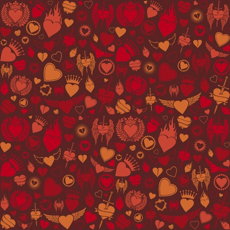 heart in flame: heart seamless pattern valentines day background, hearts background