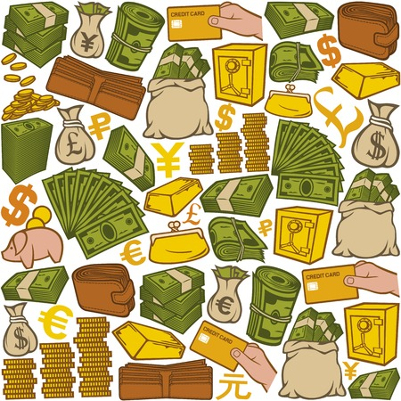 money icons seamless pattern money seamless background, finance or banking icons, money bag, bag with coins, safe, bullion, money roll, big stack of money, stack of coins, credit card, piggy bank