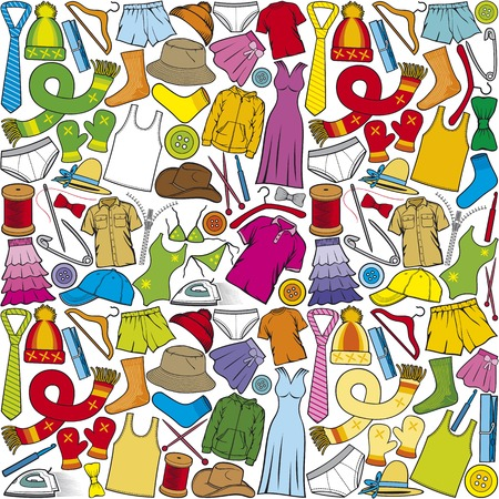 vector naadloze patroon met kleding vector achtergrond met mannelijke en vrouwelijke kleding