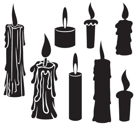 brandende kaarsen kaarsen, collectie van kaarsen, kaarsen pictogrammen, kaars en vlam, kaars met vuur Stock Illustratie