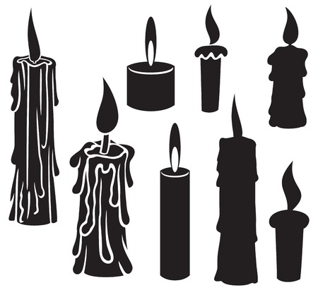 vectors: burning candles candles set, collection of candles, candles icons, candle and flame, candle with fire