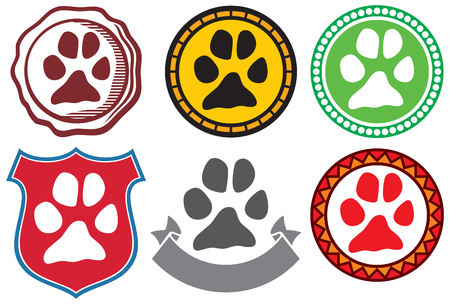 toe tag: animal paw sign icons rubber stamp with dog footprint, pets symbol