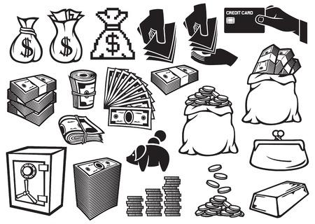 dollaro: denaro Set di icone di finanza o bancario, icone, Sacco di soldi, borsa con le monete, denaro mano dare, cassaforte, lingotti, Rotolo di soldi, grande pila di denaro, pila di monete, carte di credito, vecchia borsa, salvadanaio