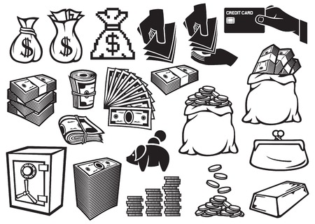 money icons set finance or banking icons, money bag, bag with coins, hand giving money, safe, bullion, money roll, big stack of money, stack of coins, credit card, old purse, piggy bank