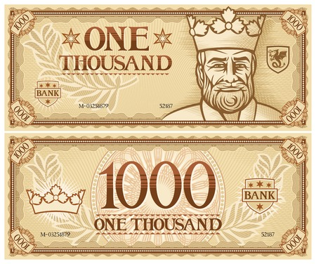 duizend abstracte bankbiljet Stock Illustratie