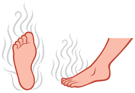 smelly feet smell of male feet, stinky feet Illustration
