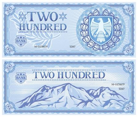 dwieście abstrakcyjne banknot Ilustracje wektorowe