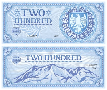 two dollar bill: two hundred abstract banknote Illustration