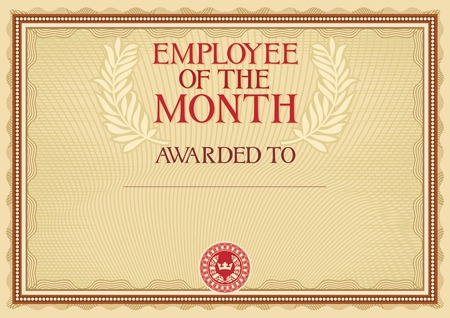 employee of the month - certificate template Vettoriali