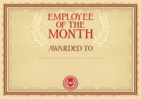 werknemer van de maand - certificaatsjabloon Stock Illustratie