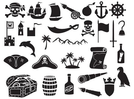 isla del tesoro: piratas iconos conjunto sable pirata, cráneo del pirata con el pañuelo y los huesos, gancho del pirata, pirata sombrero triángulo, nave vieja, catalejo, cofre del tesoro, cañón, ancla, timón, montaña, mapa, barril, el ron, la isla