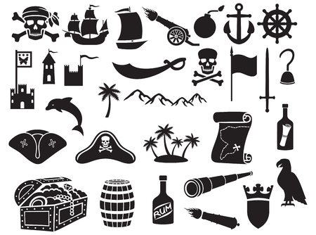 ships: pirates icons set pirate sabre, pirate skull with bandanna and bones, pirate hook, pirate triangle hat, old ship, spyglass, treasure chest, cannon, anchor, rudder, mountain, map, barrel, rum, island