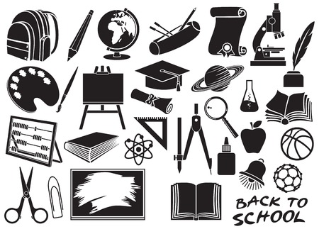 book bag: education and school icons set diploma, pencil box, school compasses, easel, scissors, bell, book, bag pack, globe, paint brush, pencil, abacus, school board, graduation cap, microscope, ruler Illustration