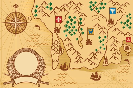 ancient map: old map ancient map, antique map Illustration
