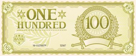 letra de cambio: billete de cien abstracta Vectores