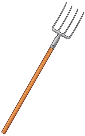 hay bale: pitchfork tool on a white background vector illustration