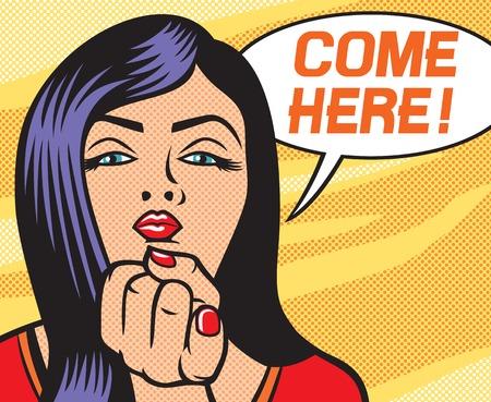junge nackte m�dchen: Pop-Art-Frau zeigt kam hier Geste Sch�nheit junge Frau, die Sie fordern, hierher zu kommen mit dem Finger Gestik, Pop-Art-Illustration eines sexy M�dchen