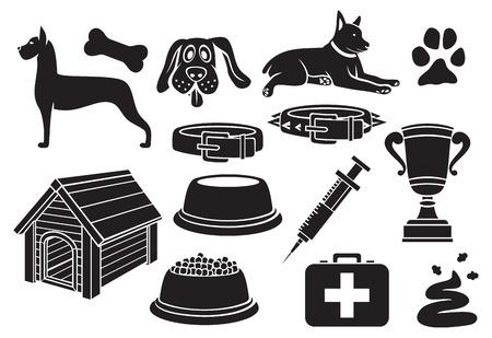 silhouette maison: icônes de chiens mis d'impression de patte, os de chien, bol de nourriture pour animaux de compagnie, maison de chien, poo, seringues, Trophée de la Coupe, collier de chien, animal de compagnie de premiers secours