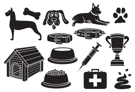dog icons set paw print, dog bone, pet food bowl, dog house, poo, syringe, trophy cup, dog collar, pet first aid