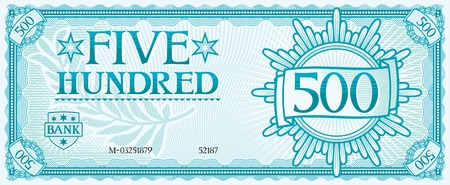 five hundred abstract banknote Stock Illustratie