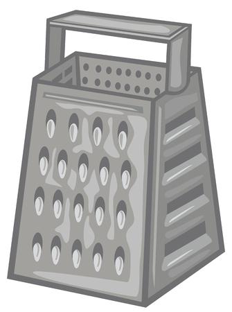 metal grater: kitchen grater grater for vegetables and fruits metal grater Illustration