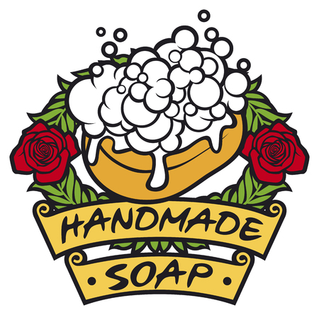 handmade soap: natural handmade soap label handmade soap with foam