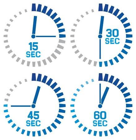 klok iconen - vijftien seconden, dertig seconden, vijfenveertig seconden, zestig seconden klok set, klok ontwerp, eenvoudig timers