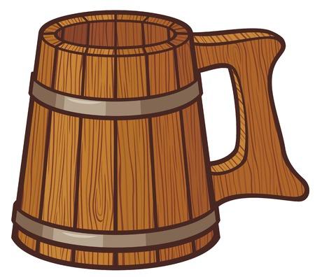 mug: wooden beer mug