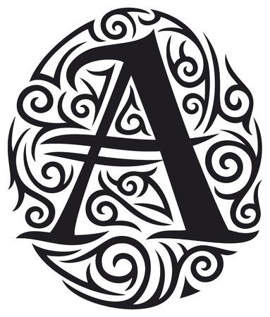 tribals: letter A tattoo tribal design Illustration