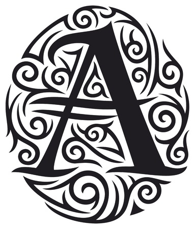 letter A tattoo tribal design Illustration