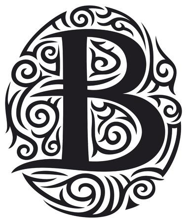 Letra C Tatuaje Diseño Tribal Ilustraciones Vectoriales Clip Art
