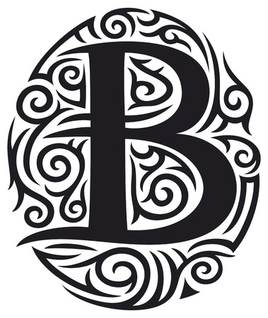 gothic letters: letter B tattoo tribal design
