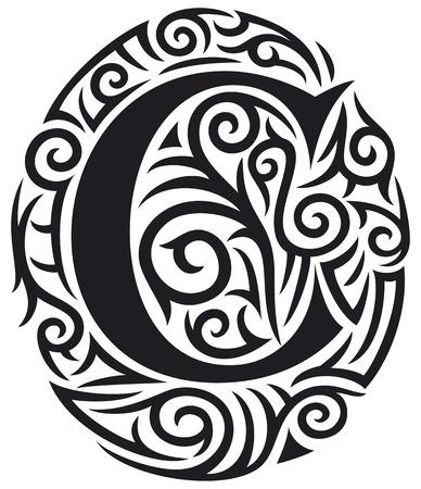 tribales: letra C tatuaje diseño tribal