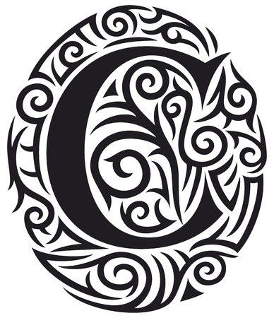 ornamental: letter C tattoo tribal design