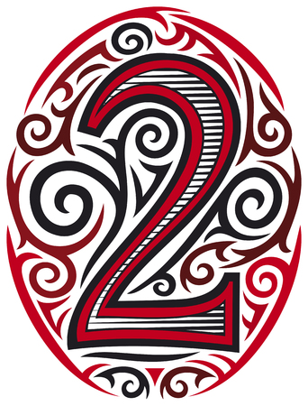 gothic design: number two tattoo tribal design