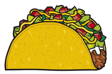 crunchy: taco - mexican food Illustration