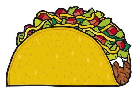 taco - Mexicaans voedsel Stock Illustratie