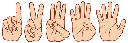 counting fingers set hands signals, hands and numbers, set of counting hand sign 1-2-3-4-5