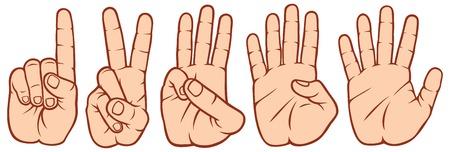 tellende vingers set handen signalen, handen en aantallen, set van tellen handteken 1-2-3-4-5 Stock Illustratie