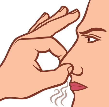olfato: hombre que sostiene su nariz debido a un concepto mal olor mal olor Vectores
