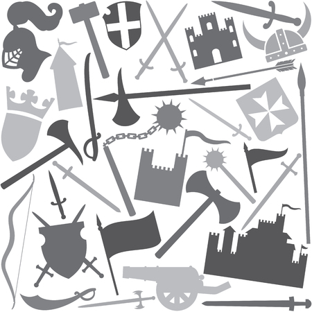 seamless vector pattern with medieval icons tower, medieval knight helmet, ancient cannon, swords, battle ax, hammer, flag, coat of arms, shield, saber, medieval flail, mace, viking helmet