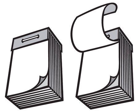 january 1: blank tear-off paper calendar vector illustration tear-off calendar set