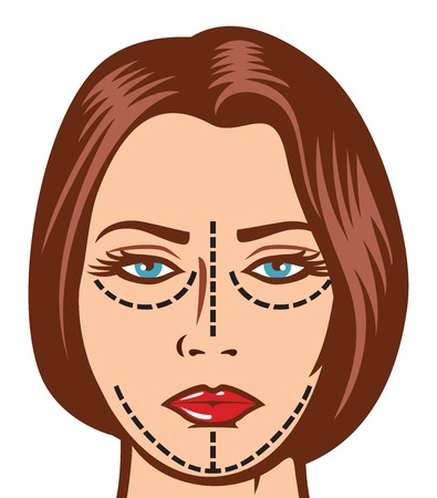 operation for: beautiful woman ready for cosmetic surgery beautiful young woman with perforation lines on her face before plastic surgery operation